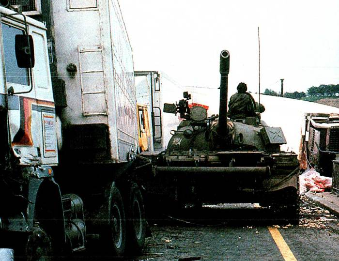 Yugoslav tank and Truck roadbock. Harbinger of things to come.