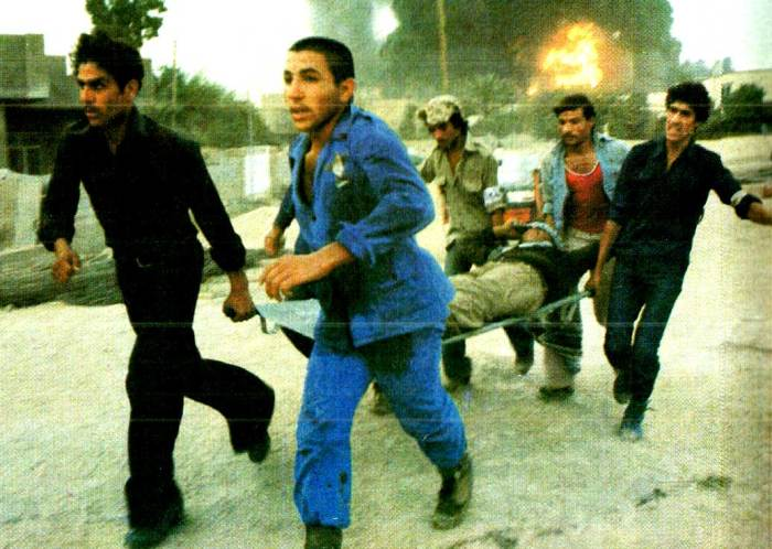 Carrying wounded in Baghdad. At least the War Of Words had no casualty lists.