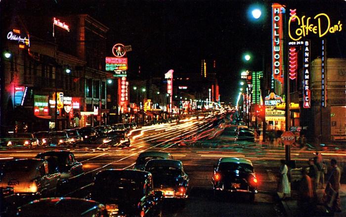 L.A. at night - Hollywood - 1955