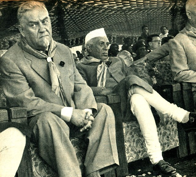 Nikolai Bulganin and Nehru - 1955