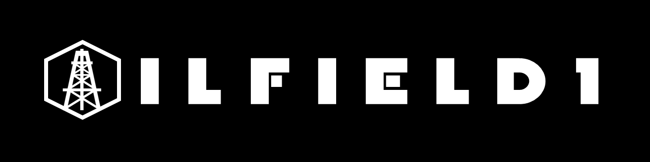 OILFIELD1 LOGO HEX RIG O WHITE FONT BLACK BG