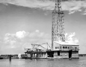 Offshore History: Shell Oil Drilling Ship on Lake Barre early 1950s