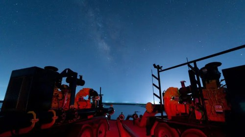 """Night Lights"" The Milky Way and Lights from Fracking Operations Shine Over Water Transfer Pumps"