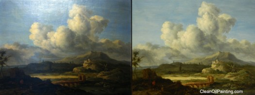 Mid 1800 S Anglo Euro Painting Before And After Cleaning