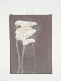 """Experiment 2: Building up my smaller mushroom shape in slow, thickly loaded, gestural strokes, in a white mixed with a tiny, tiny touch of blue to cool it down to something I felt was more """"fungal""""."""