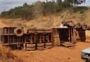 Em Brasil Novo, caminhão levando gado tomba e carga é saqueada