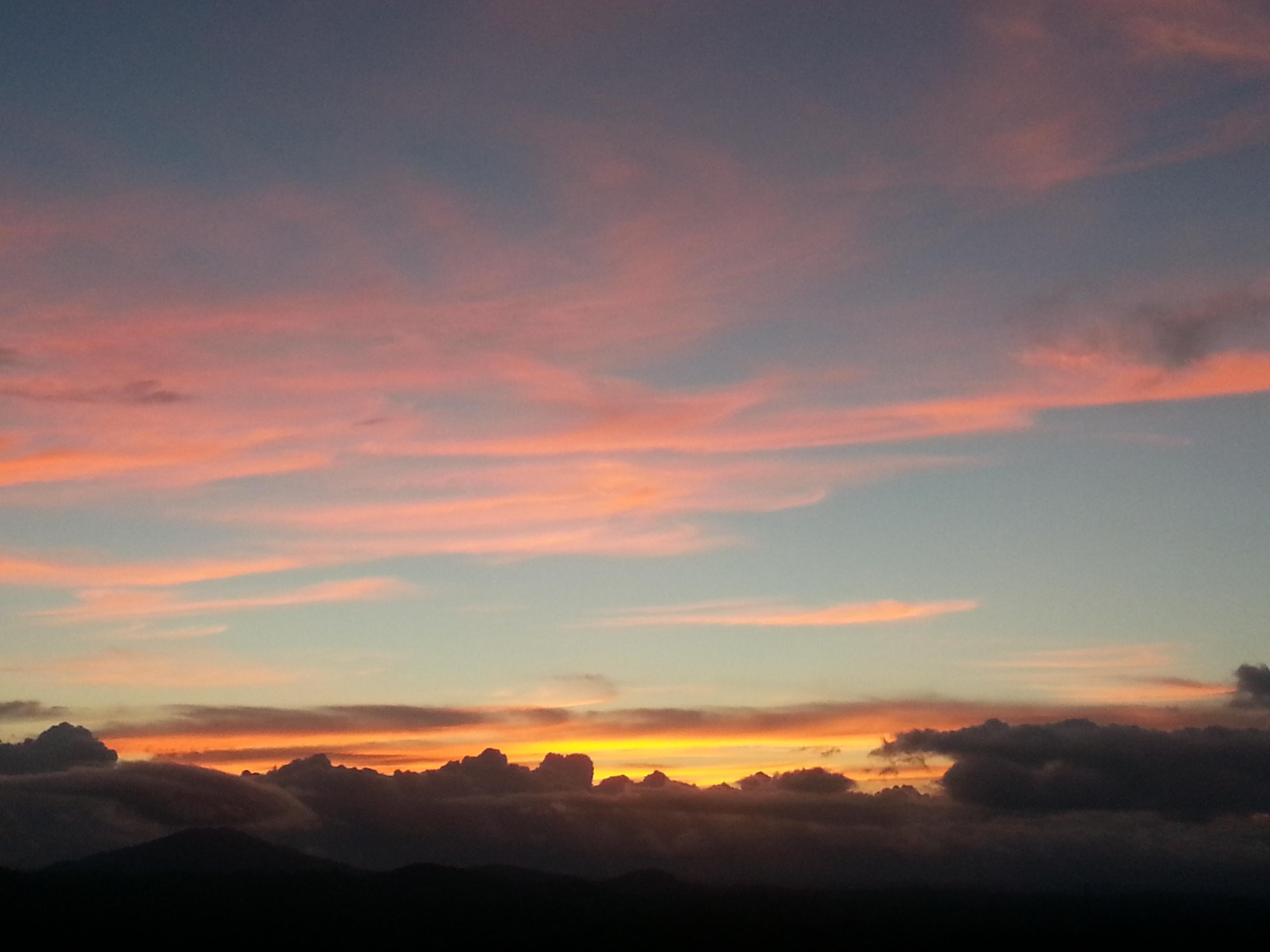 Pink, blue, yellow, orange, gray \u0026 black \u2013 a sky of many moods ...