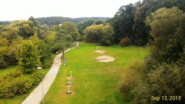 Vingis Park from a bridge above