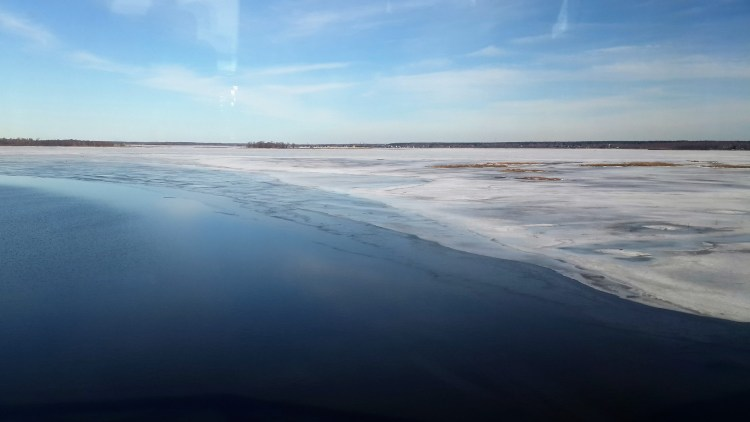 The road to St. Petersburg is coloured with water and ice