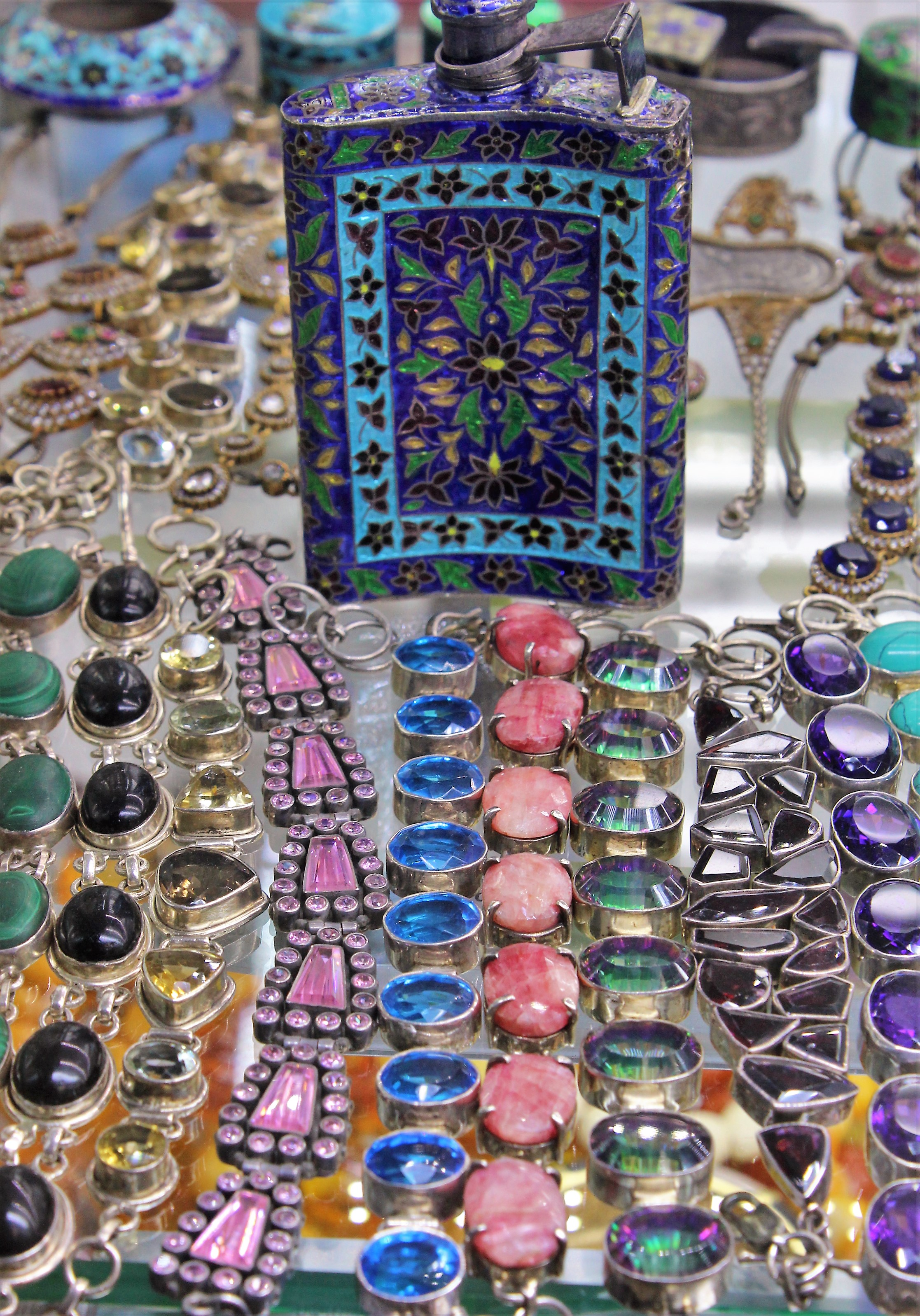 Gemstones on jewellery
