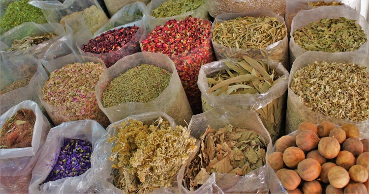 One can smell the aroma of spices from a distance at Souq Sagr.