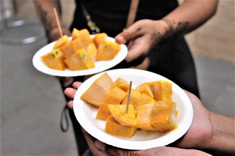 Kuremal's famous stuffed mango kulfi in Old Delhi's Chawri Bazaar.