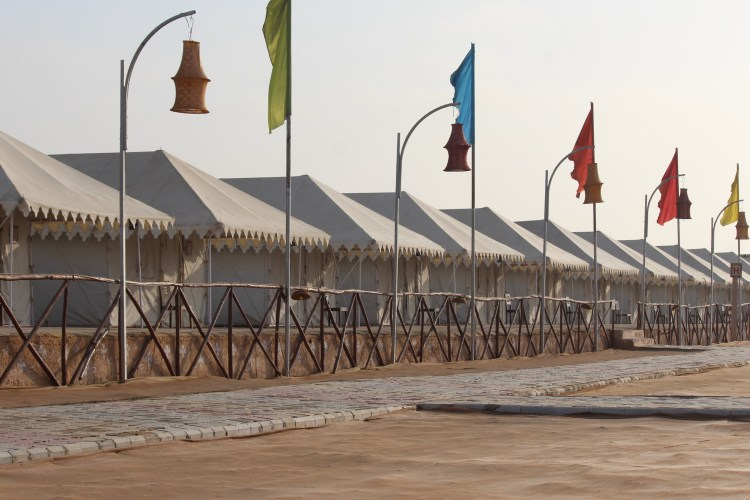 Swiss tents are neatly set up in Kutch during the Rannmahotsav.