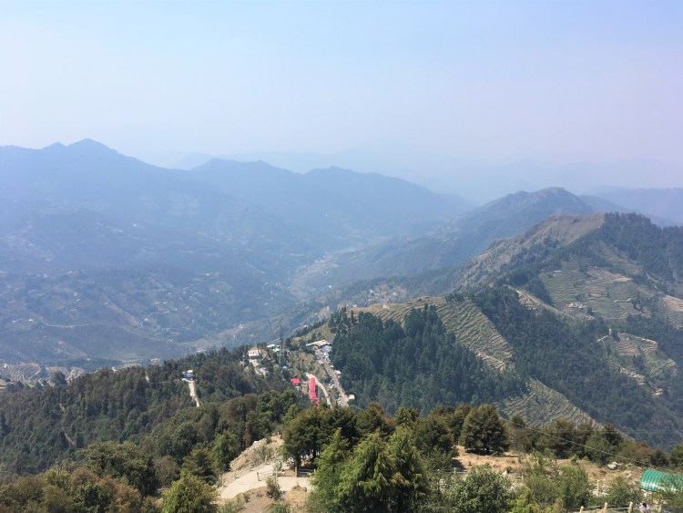 The Lower Himalayan range is distinctly visible from Dhanaulti.