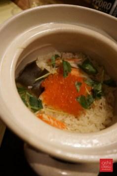 Takikomi gohan (for 2), seasoned rice with snow crab and ikura, $22