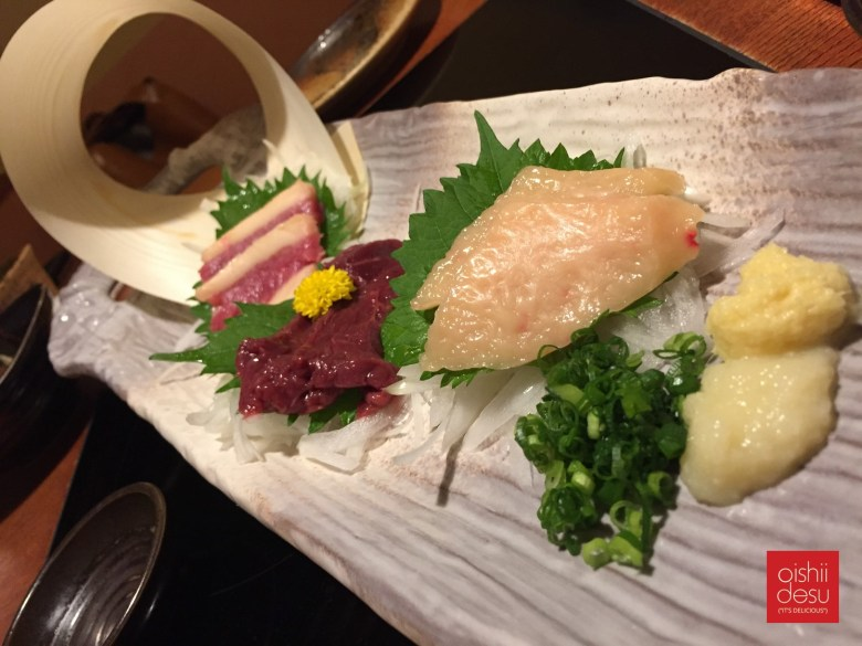 Photo Description: This pic I took at an izakaya and they had several varying cuts of horse meat from lean to fatty. Beneath the slices where julienned white onion with sides of grated ginger, garlic, and diced green onion.
