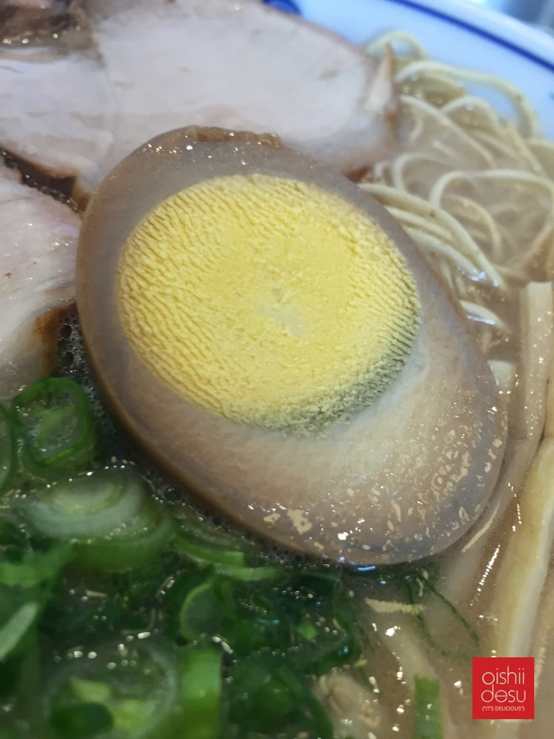 Photo Description: a close-up of the fully cooked egg at Venice Ramen.