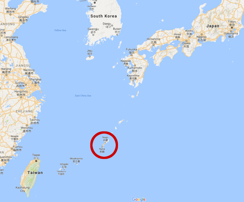 Photo Description: this is a picture of where Okinawa is located in relation to Japan and China. The red circle is of Okinawa which is Northeast of Taiwan, but it is nowhere near the size of Taiwan. Okinawa (Japan) is 0.04 times as big as Hawaii (US)