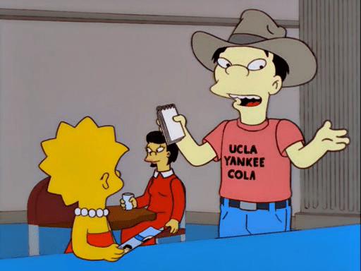 Photo Description: Simpson UCLA Yankee Cola episode.