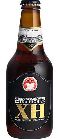 "Photo Description: a bottle of Hitachino Nest Beer Extra High 8%. The text on the bottle is a golden text ""XH"" and in a smaller font ""kikuchi brewery."""