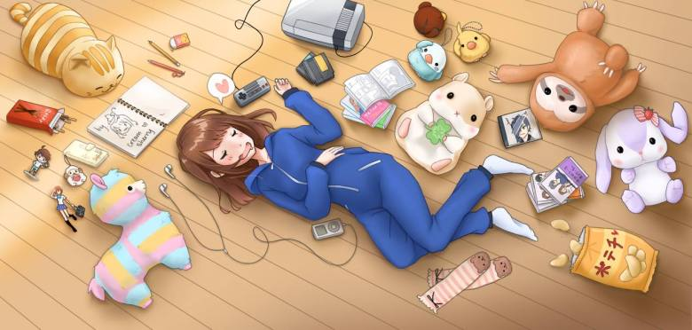 Photo Description: a manga style pic of a girl laying on a light tan wood floor. She's dressed in a blue jumpsuit, white, socks, and she is surrounded by stuffed animals, pocky, a sketchbook, nintendo, an ipod, potato chips, and CD's, and a few manga books.