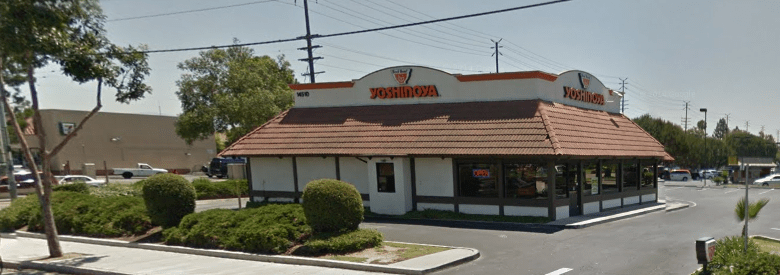 Photo Description: a free standing Yoshinoya location in Tustin via Google maps. There's a large parking lot with ample parking space.