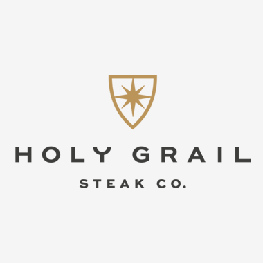 """Photo Description: """"Holy Grail steak Co."""" logo with their mark which looks like a starburst."""
