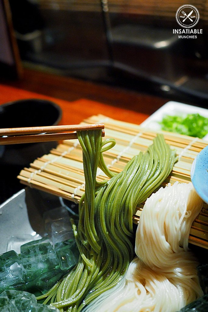 Photo Description: another pic soba green tea (green colored) and the typical wheat somen noodles (white colored).