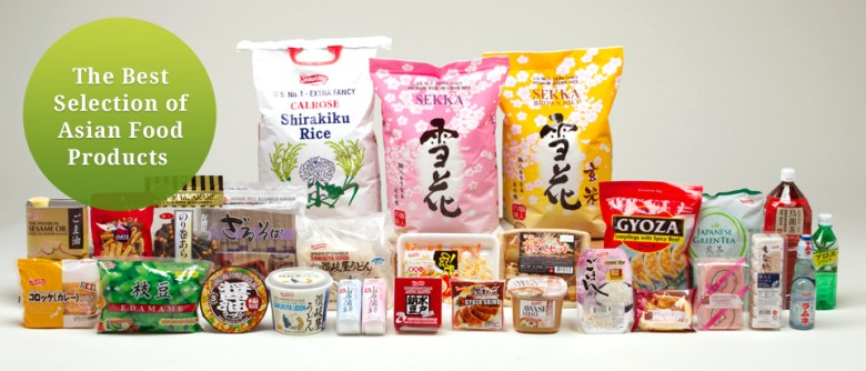 "Photo Description: a number of varying products offered by Wismettac from rice, instant udo, to frozen pre-prepared shrimp tempura. In the top left corner is the text ""The Best Selection of Asian Food Products."""