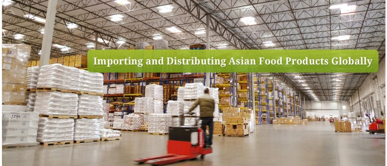 "Photo Description: the extremely large Wismettac warehouse. You can see row, and rows of shelves with a number of pallets with goods stacked on top. The copy ""importing and distributing Asian Food Products Globally"" is written across the image."