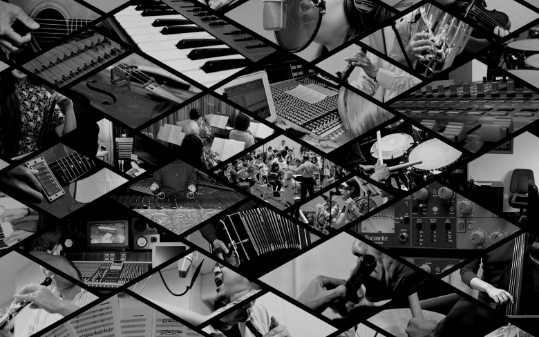 Photo Description: the image is a black and white image which is a composite of images in a diamond pattern. The images consist of a piano, recording equipment, people playing instruments, etc. Nash Music is based out of Osaka, Japan.