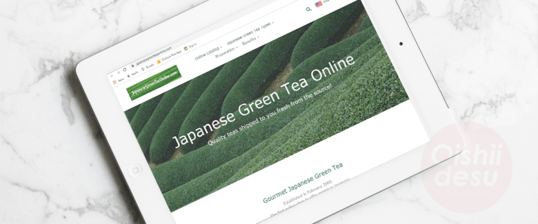Photo Description: Japanese green tea online screenshot  of their website on an ipad with a marble table background.