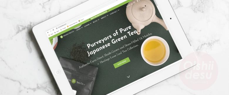 Photo Description: Mizuba tea company screenshot  of their website on an ipad with a marble table background.