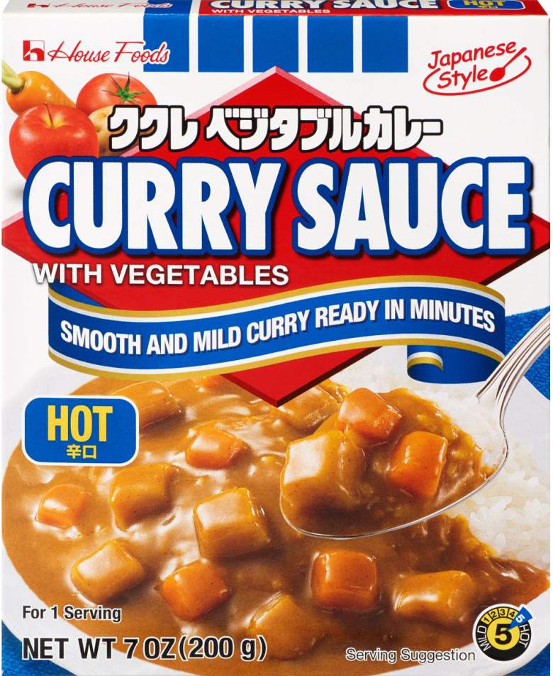 "Photo Description: House Foods packaging for Curry Sauce with Vegetables with the text ""smooth and mild curry ready in minutes."" The additional text says ""Japanese style and hot."""
