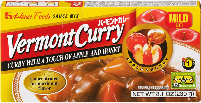 "Photo Description: the packaging has in English the words: House Foods sauce mix, Vermont Curry, curry with a touch of apple and honey, and in the upper right ""mild"" with ""apple & honey in the mid right side."