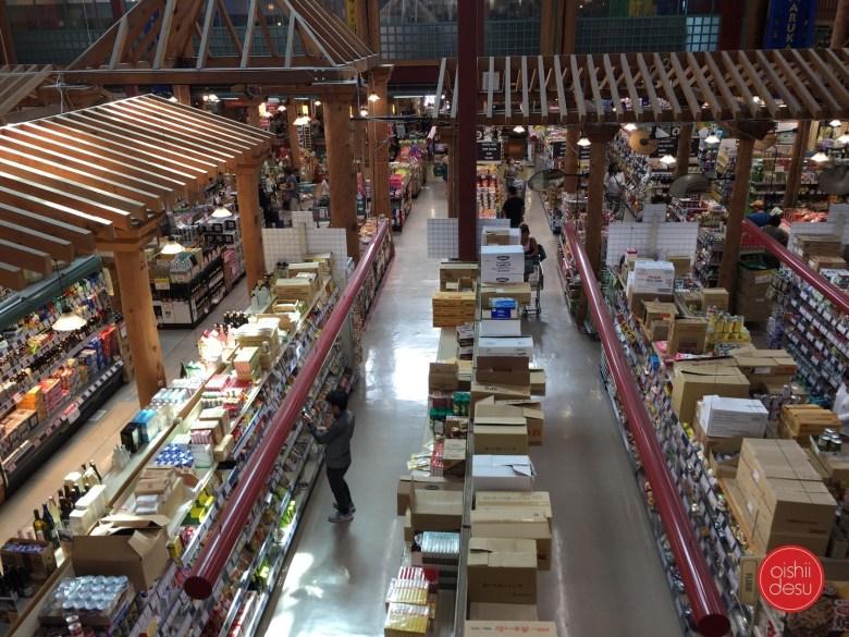 Photo Description: the massive floor space of Marukai market has shelves upon shelves of shelves from end to end.