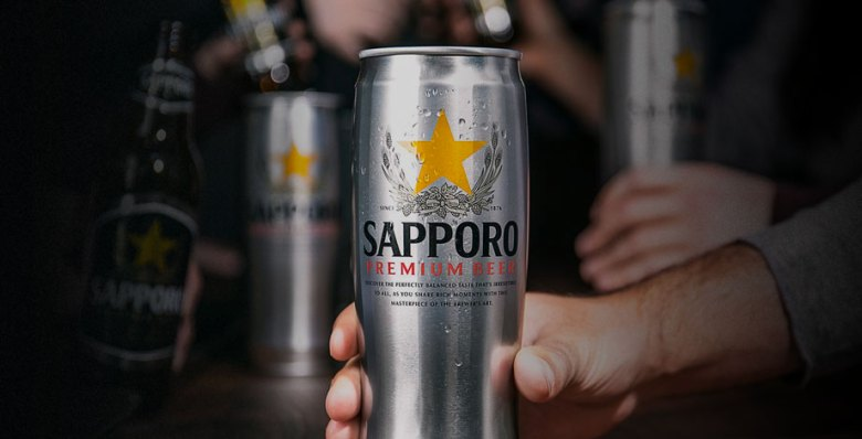 Photo Description: the icon Sapporo can which is silver in finish with a very unique can design that is multi-faceted with the Sapporo logo.