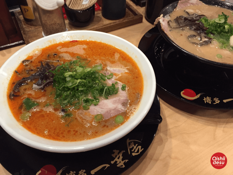 Photo Description: Ikkousha ramen, the first bowl (white bowl) is mentaiko tonkotsu ramen and tonkotsu shoyu ramen (black bowl).
