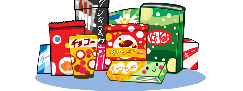 Photo Description: Candy Japan uses an illustration that dipicts Kit Kats, Pocky, to a number of Japanese looking snacks and candies.