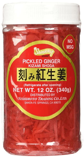 """Photo Description: beni shoga pickled ginger (kizami shoga). The jar has the text """"refrigertate after opening, net wt. 12 oz (340g). Distributed by Nishimoto Trading."""