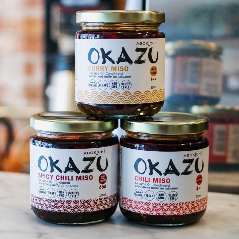 Photo Description: the three flavors types that Abokichi offers which are curry miso, spicy chili miso, and chili miso.