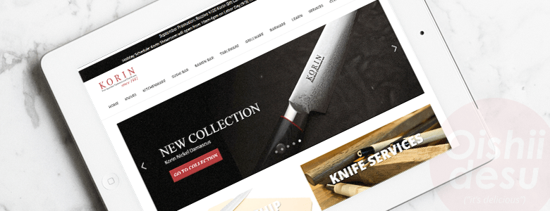 "Photo Description: an iPad with a screenshot of korin.com. The image is on their homepage is of a Japanese knife that Korin branded, along with the text ""new collection."""