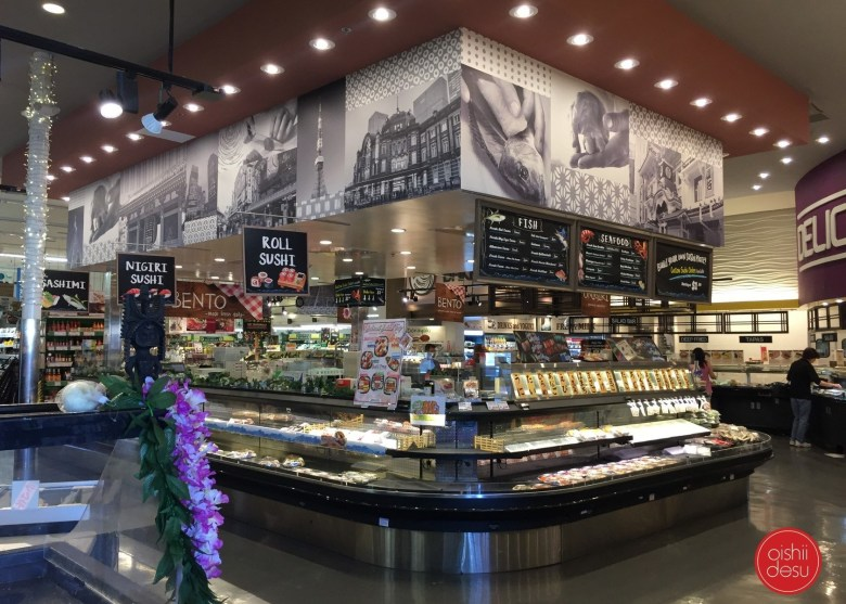 """Photo Description: the """"deli"""" sushi, sashimi, and prepared foods area of Tokyo Central market. This is the newly renovated area that was in constant change regarding their product lineup."""