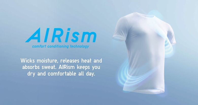 Photo Description: a light bluish graphic with a CGI shot of the UNIQLO AIRism t-shirt with a swirly blue and white graphic swirling around the simulated fitted men's shirt.