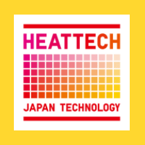 """Photo Description: the UNIQLO HEATTECH logo is a block like graphic with the text HEATTECH and """"Japan Technology."""" (yellow background)"""