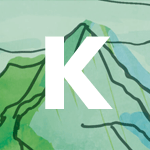 Photo Description: the letter K for Kawaba with hand drawn mountain range.