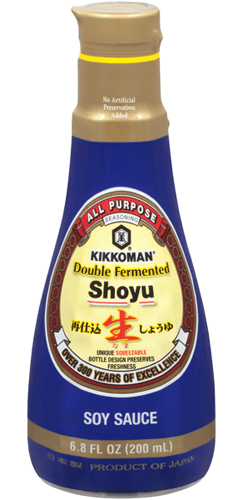 "Photo Description: Kikkoman double fermented soy sauce has their iconic Kikkoman shaped bottle with a blue wrap and their Kikkoman logo with the words ""double fermented."""