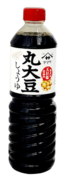 Photo Description: the Yamasa marudaizu soy sauce bottle has a small image of the whole soybeans.