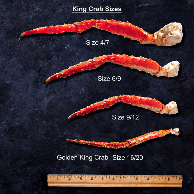 Photo Description: Alaskan King Crab sizes in this image has a number of crab legs illustrating the largest (size 4/7), medium large (size 6/9), small (size 9/12), and the smallest which is Golden king crab (size 16/20).