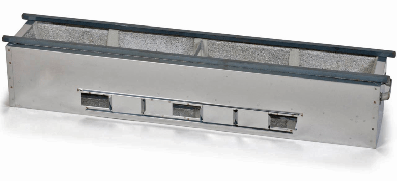 Photo Description: Teruhim Koukaseki yakitori grill (konro) is silver (stainless steel) with some ports below to help you to control the heat.